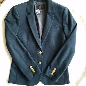 J Crew Navy Blazer Black Label Cotton Blend Size 4